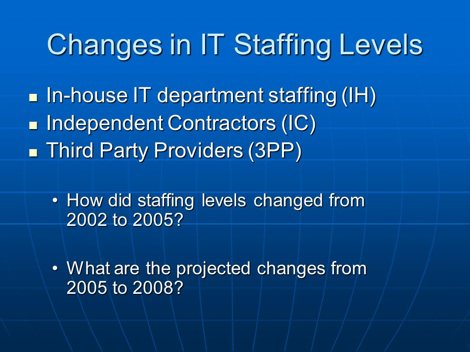 Changes in IT Staffing Levels In-house IT department staffing (IH) In-house IT department staffing (IH) Independent Contractors (IC) Independent Contractors (IC) Third Party Providers (3PP) Third Party Providers (3PP) How did staffing levels changed from 2002 to 2005 How did staffing levels changed from 2002 to 2005.