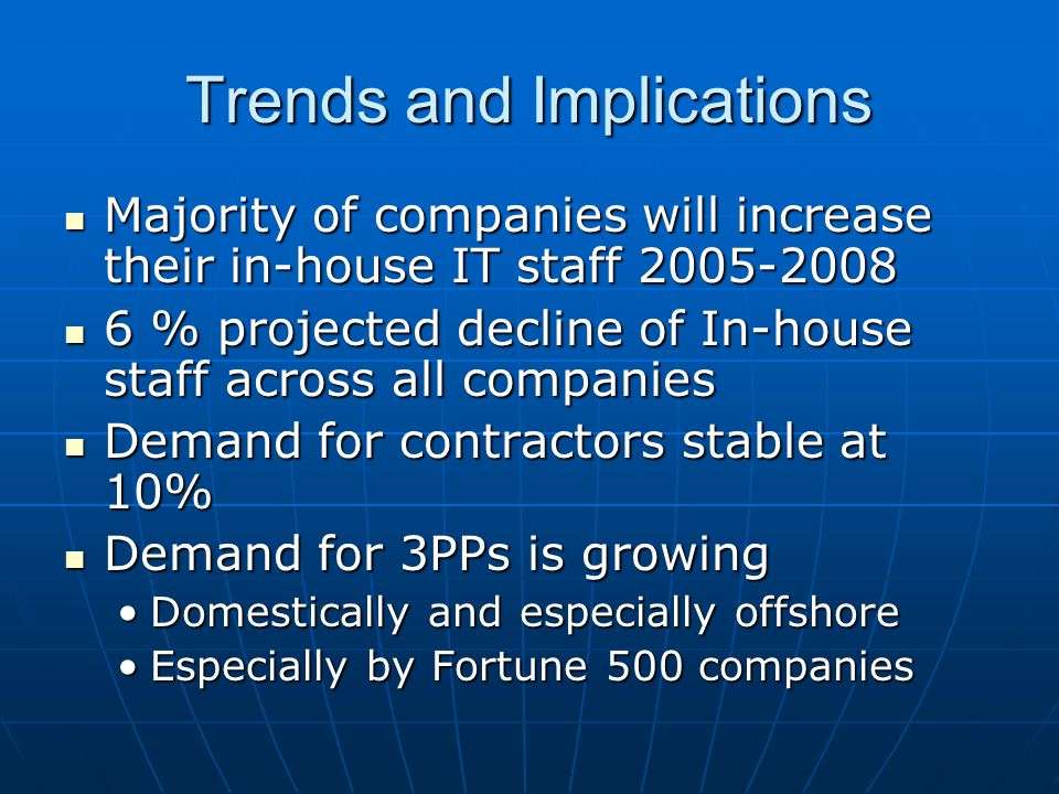 Trends and Implications Majority of companies will increase their in-house IT staff 2005-2008 Majority of companies will increase their in-house IT st