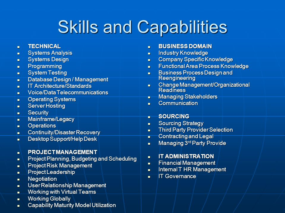 Skills and Capabilities TECHNICAL TECHNICAL Systems Analysis Systems Analysis Systems Design Systems Design Programming Programming System Testing Sys