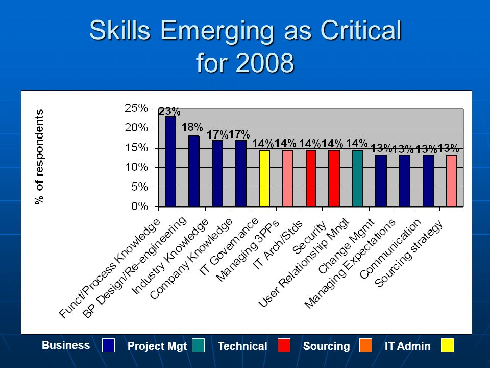 Skills Emerging as Critical for 2008 Business Project MgtTechnicalSourcingIT Admin