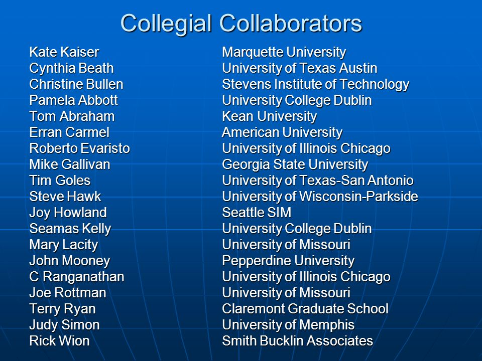 Collegial Collaborators Kate KaiserMarquette University Cynthia BeathUniversity of Texas Austin Christine BullenStevens Institute of Technology Pamela AbbottUniversity College Dublin Tom AbrahamKean University Erran Carmel American University Roberto EvaristoUniversity of Illinois Chicago Mike Gallivan Georgia State University Tim Goles University of Texas-San Antonio Steve Hawk University of Wisconsin-Parkside Joy Howland Seattle SIM Seamas Kelly University College Dublin Mary Lacity University of Missouri John Mooney Pepperdine University C Ranganathan University of Illinois Chicago Joe Rottman University of Missouri Terry Ryan Claremont Graduate School Judy SimonUniversity of Memphis Rick Wion Smith Bucklin Associates