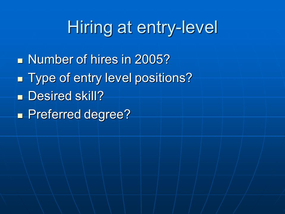 Hiring at entry-level Number of hires in 2005? Number of hires in 2005? Type of entry level positions? Type of entry level positions? Desired skill? D