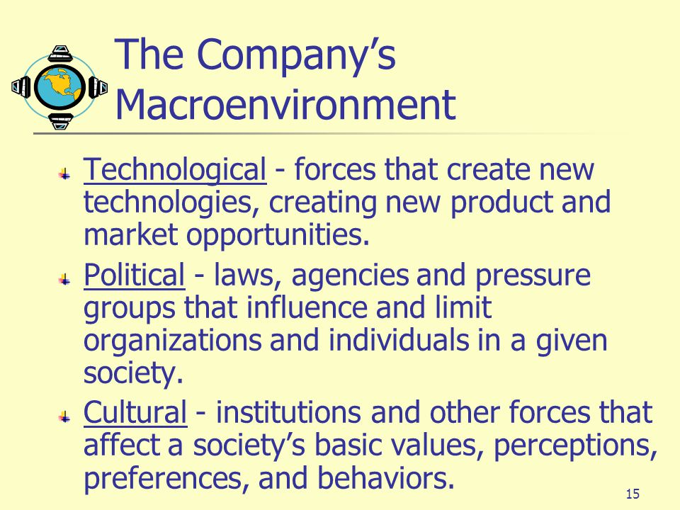 15 The Company's Macroenvironment Technological - forces that create new technologies, creating new product and market opportunities.