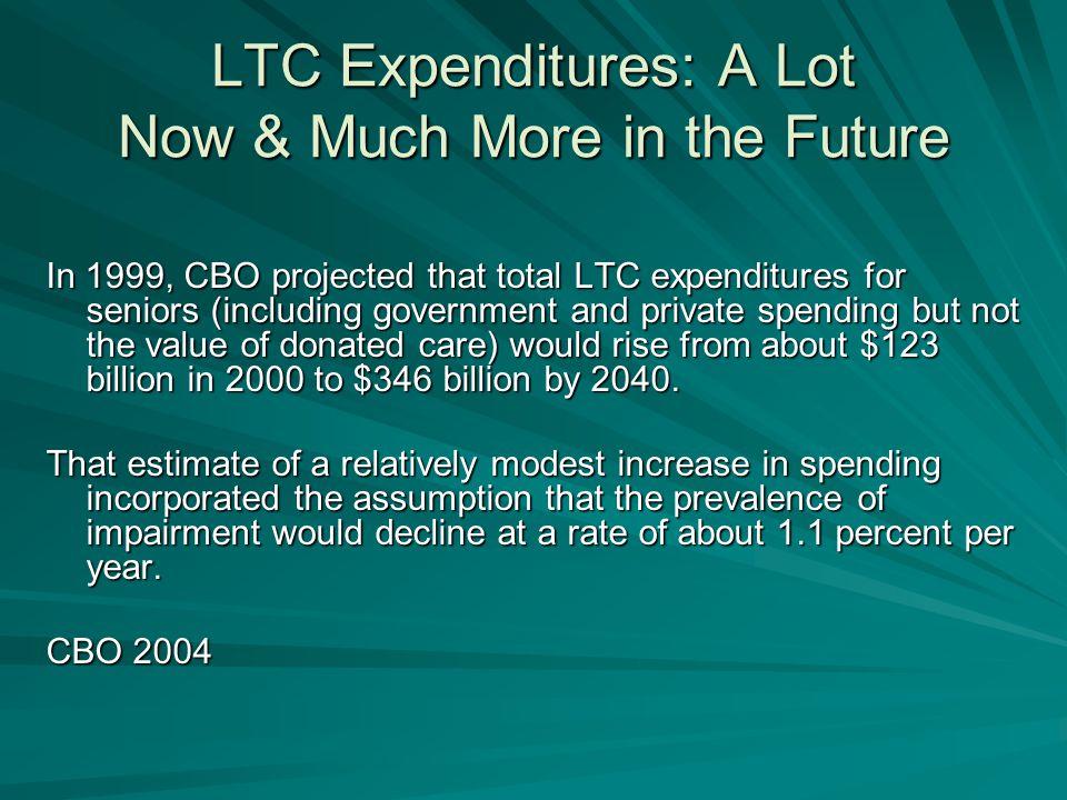 LTC Expenditures: A Lot Now & Much More in the Future In 1999, CBO projected that total LTC expenditures for seniors (including government and private spending but not the value of donated care) would rise from about $123 billion in 2000 to $346 billion by 2040.