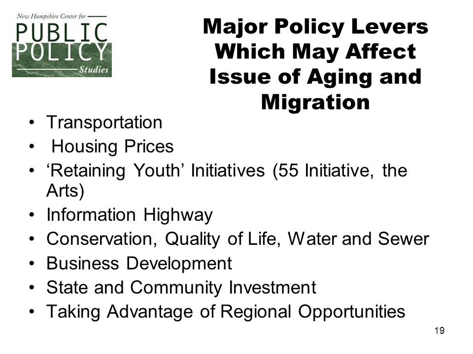 19 Major Policy Levers Which May Affect Issue of Aging and Migration Transportation Housing Prices 'Retaining Youth' Initiatives (55 Initiative, the A