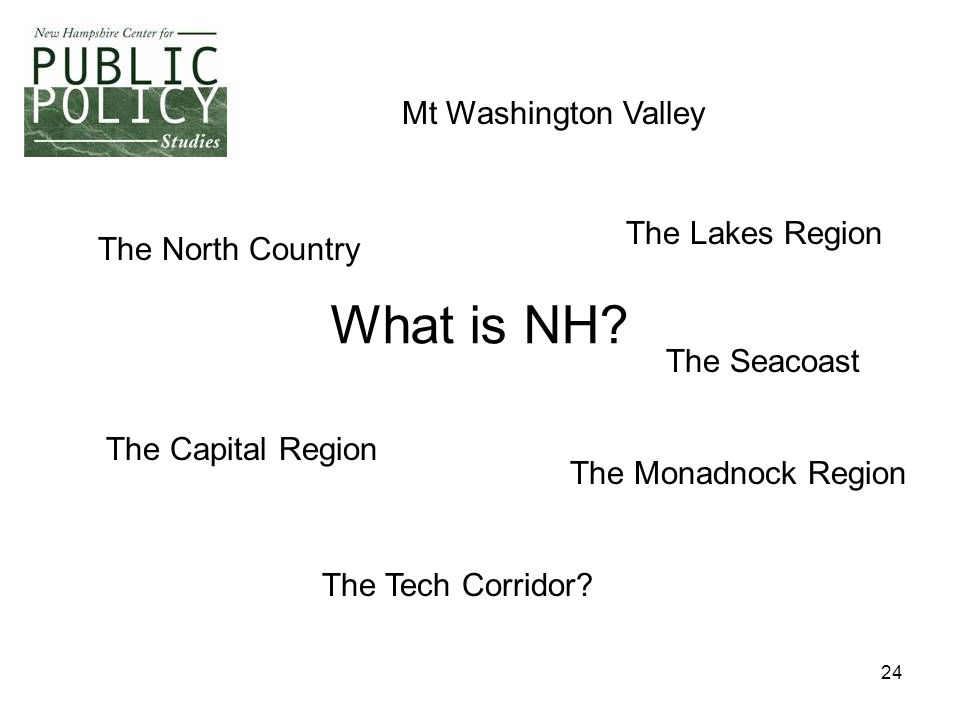 24 What is NH? The Tech Corridor? The Lakes Region The North Country The Seacoast The Capital Region The Monadnock Region Mt Washington Valley
