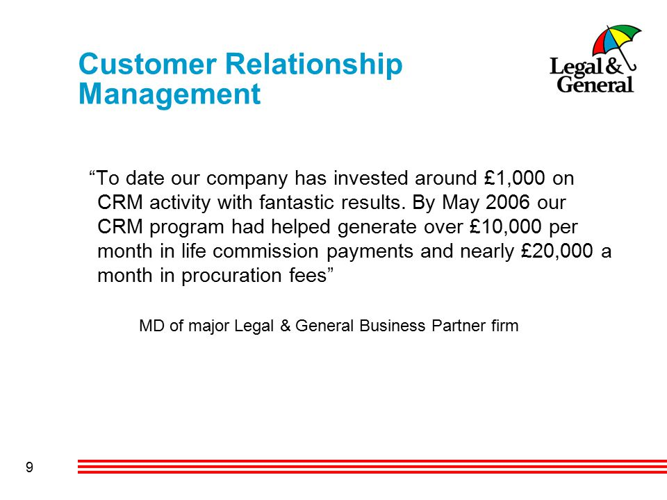 9 Customer Relationship Management To date our company has invested around £1,000 on CRM activity with fantastic results.