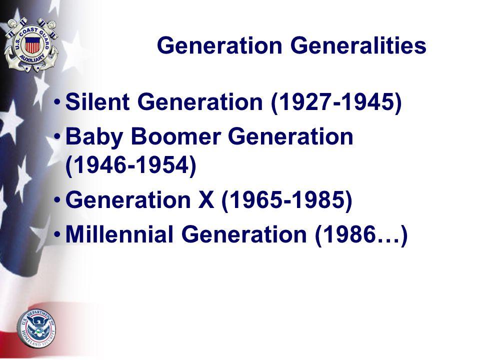 Generation Generalities Silent Generation (1927-1945) Baby Boomer Generation (1946-1954) Generation X (1965-1985) Millennial Generation (1986…)
