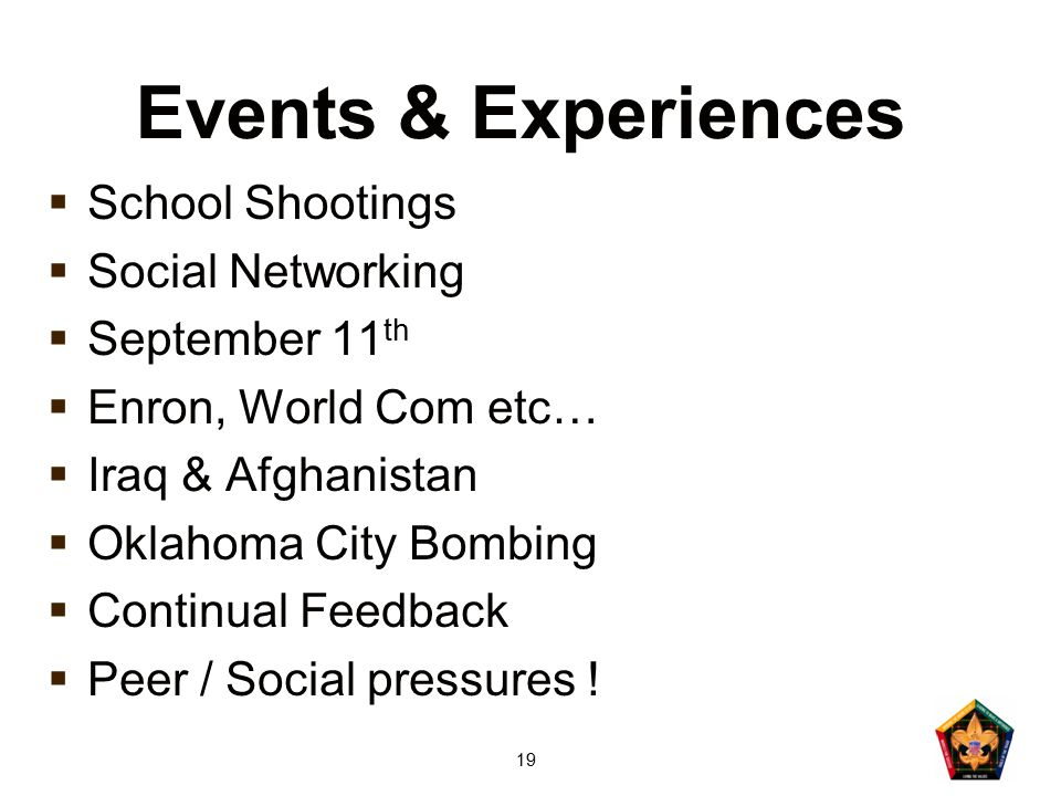 19 Events & Experiences  School Shootings  Social Networking  September 11 th  Enron, World Com etc…  Iraq & Afghanistan  Oklahoma City Bombing