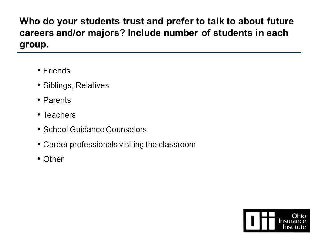 Friends Siblings, Relatives Parents Teachers School Guidance Counselors Career professionals visiting the classroom Other Who do your students trust and prefer to talk to about future careers and/or majors.