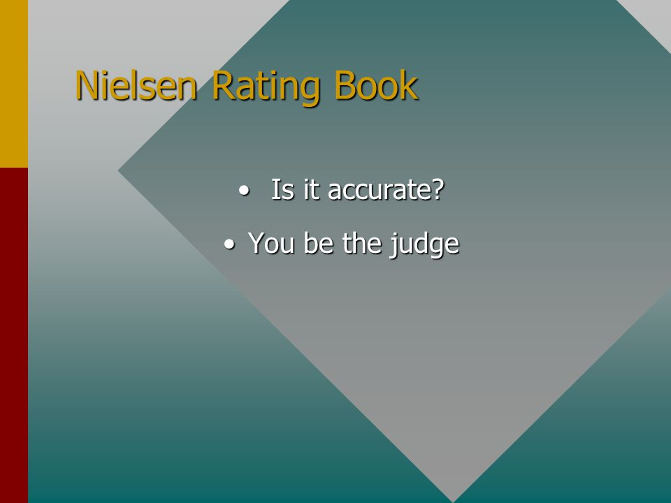 Nielsen Rating Book Is it accurate Is it accurate You be the judgeYou be the judge