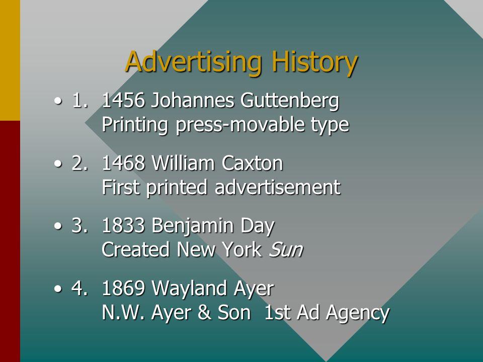 Advertising History 1. 1456 Johannes Guttenberg Printing press-movable type1.
