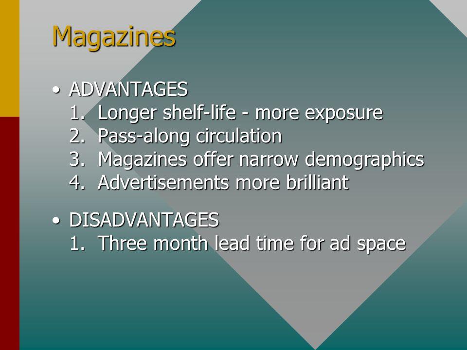 Magazines ADVANTAGES 1. Longer shelf-life - more exposure 2.