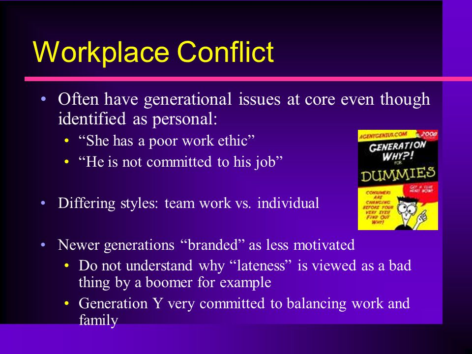 Workplace Conflict Often have generational issues at core even though identified as personal: She has a poor work ethic He is not committed to his job Differing styles: team work vs.