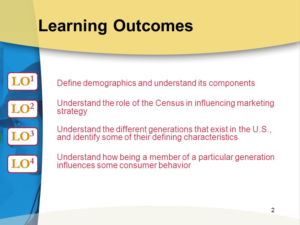2 Learning Outcomes Define demographics and understand its components Understand the role of the Census in influencing marketing strategy Understand t