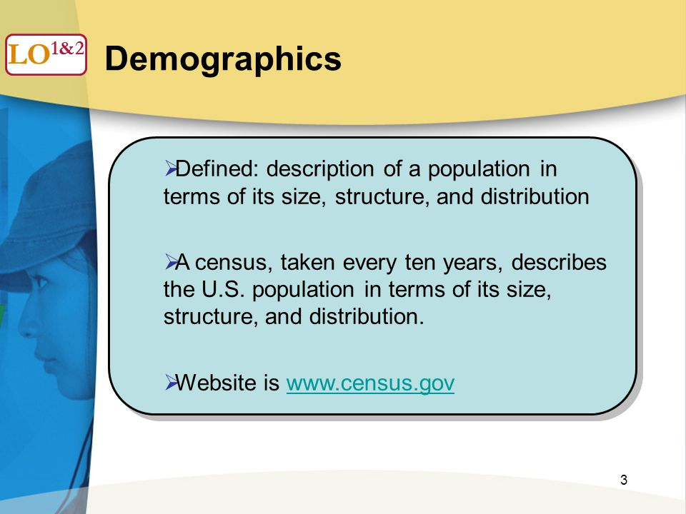 3 Demographics  Defined: description of a population in terms of its size, structure, and distribution  A census, taken every ten years, describes t