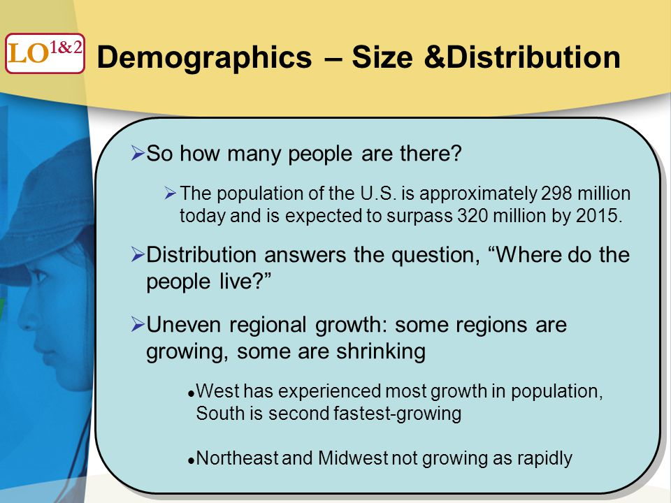 5 Demographics – Size &Distribution  So how many people are there.