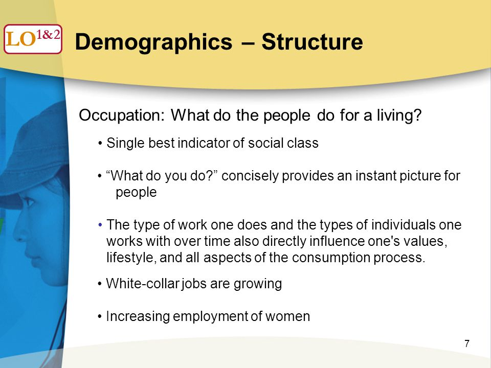 7 Demographics – Structure LO 1 Occupation: What do the people do for a living.