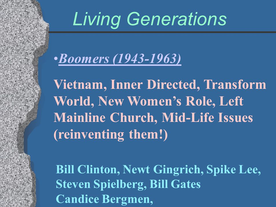Living Generations Boomers (1943-1963) Vietnam, Inner Directed, Transform World, New Women's Role, Left Mainline Church, Mid-Life Issues (reinventing