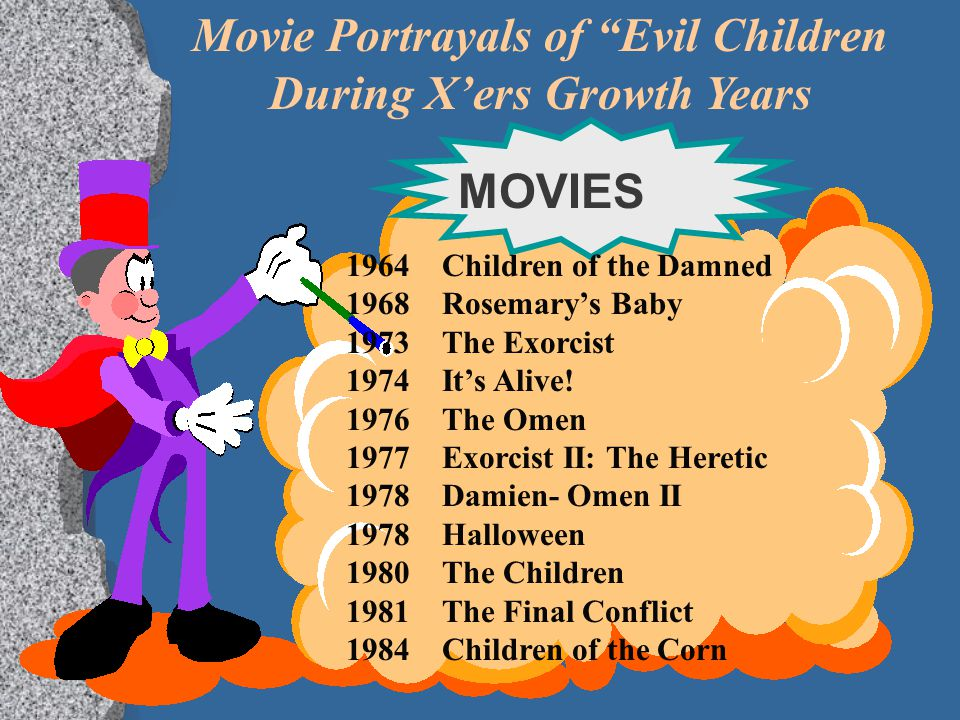 """Movie Portrayals of """"Evil Children During X'ers Growth Years 1964 Children of the Damned 1968 Rosemary's Baby 1973The Exorcist 1974It's Alive! 1976The"""