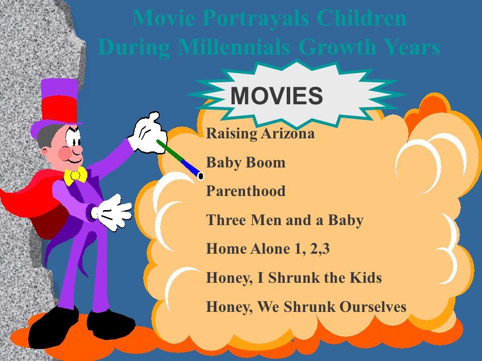 Movie Portrayals Children During Millennials Growth Years MOVIES Raising Arizona Baby Boom Parenthood Three Men and a Baby Home Alone 1, 2,3 Honey, I