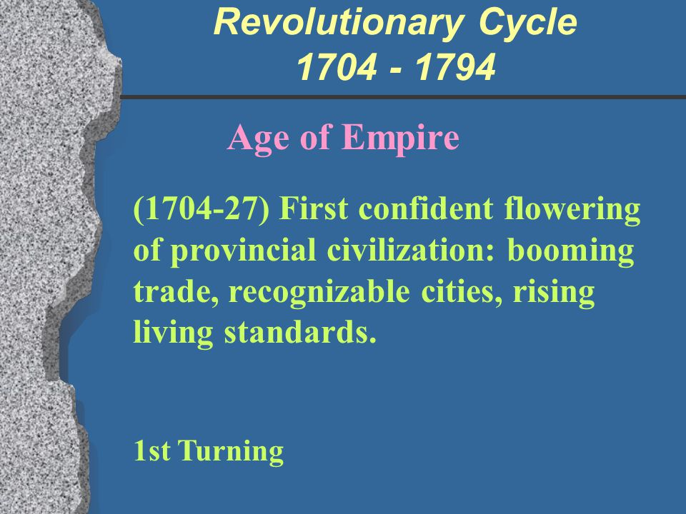 Revolutionary Cycle 1704 - 1794 Age of Empire (1704-27) First confident flowering of provincial civilization: booming trade, recognizable cities, risi