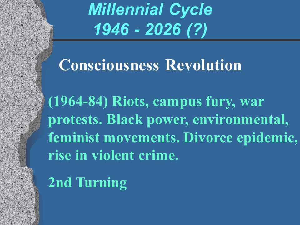 Millennial Cycle 1946 - 2026 (?) Consciousness Revolution (1964-84) Riots, campus fury, war protests. Black power, environmental, feminist movements.