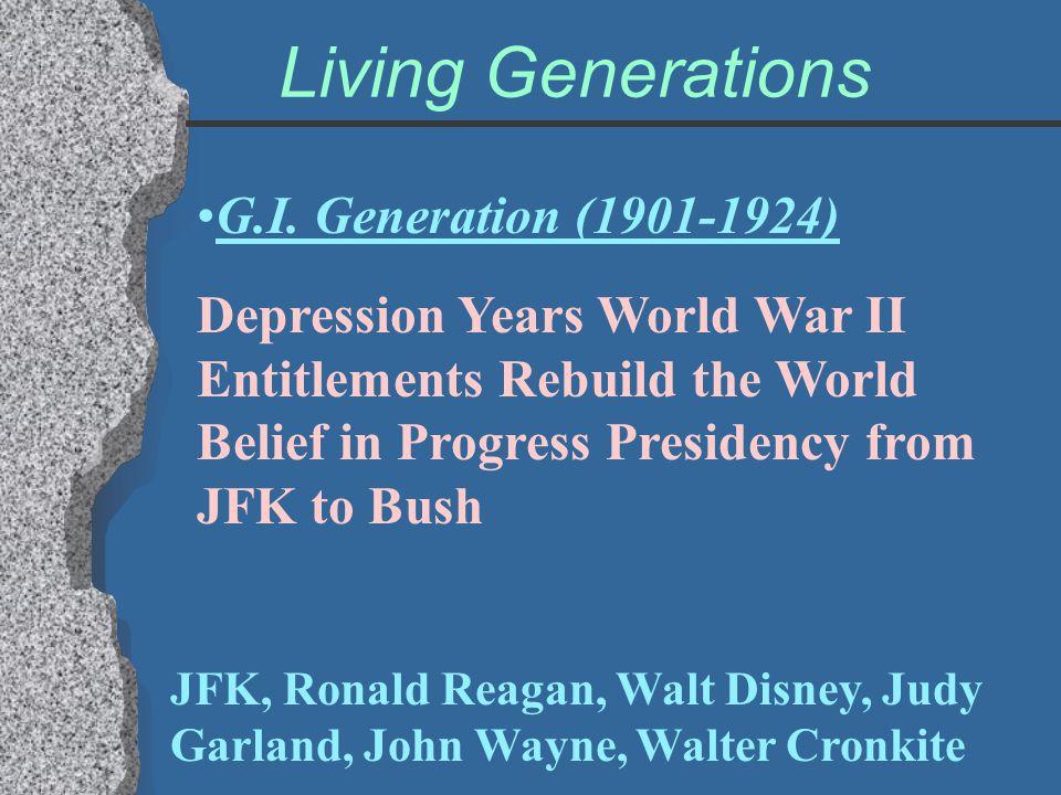 Living Generations G.I. Generation (1901-1924) Depression Years World War II Entitlements Rebuild the World Belief in Progress Presidency from JFK to