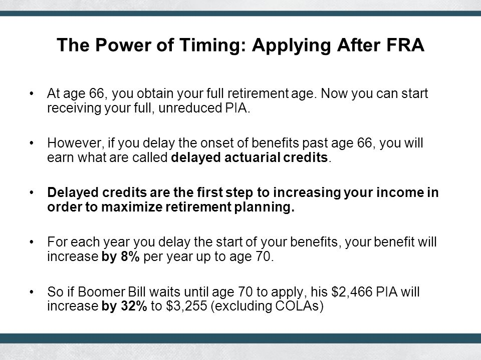 The Power of Timing: Applying After FRA At age 66, you obtain your full retirement age.