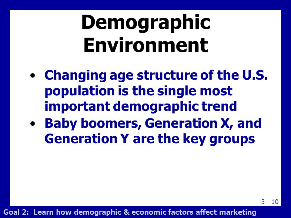3 - 10 Changing age structure of the U.S. population is the single most important demographic trend Baby boomers, Generation X, and Generation Y are t