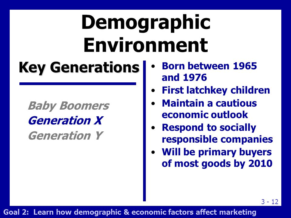 3 - 12 Born between 1965 and 1976 First latchkey children Maintain a cautious economic outlook Respond to socially responsible companies Will be prima