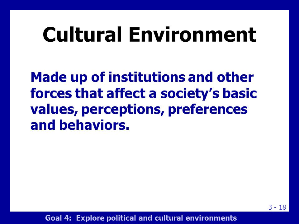 3 - 18 Cultural Environment Made up of institutions and other forces that affect a society's basic values, perceptions, preferences and behaviors. Goa