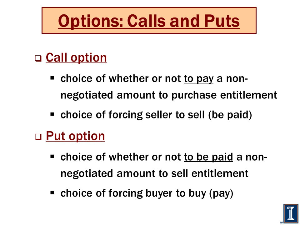 Options: Calls and Puts  Call option  choice of whether or not to pay a non- negotiated amount to purchase entitlement  choice of forcing seller to sell (be paid)  Put option  choice of whether or not to be paid a non- negotiated amount to sell entitlement  choice of forcing buyer to buy (pay)