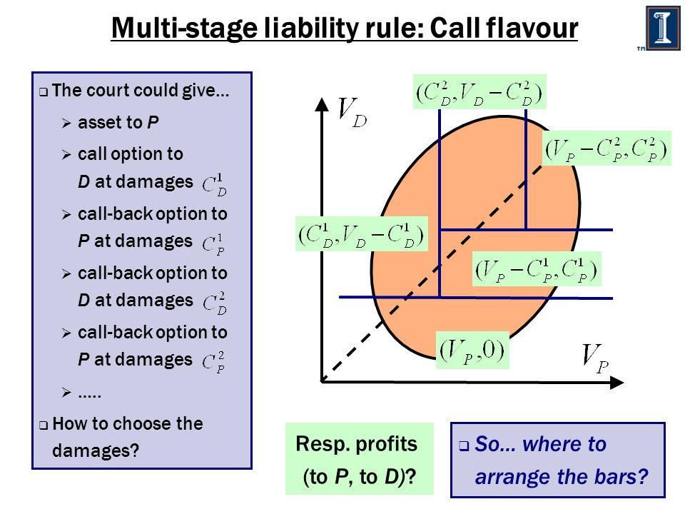 Multi-stage liability rule: Call flavour  The court could give…  asset to P  call option to D at damages  call-back option to P at damages  call-back option to D at damages  call-back option to P at damages  …..
