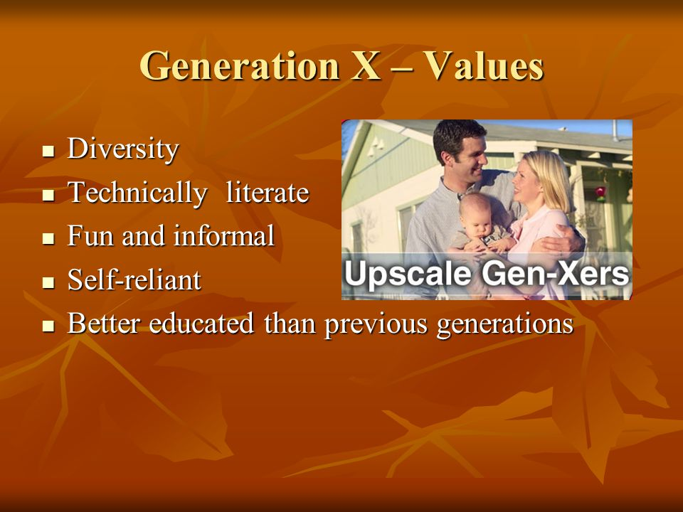 Generation X – Values Diversity Diversity Technically literate Technically literate Fun and informal Fun and informal Self-reliant Self-reliant Better educated than previous generations Better educated than previous generations