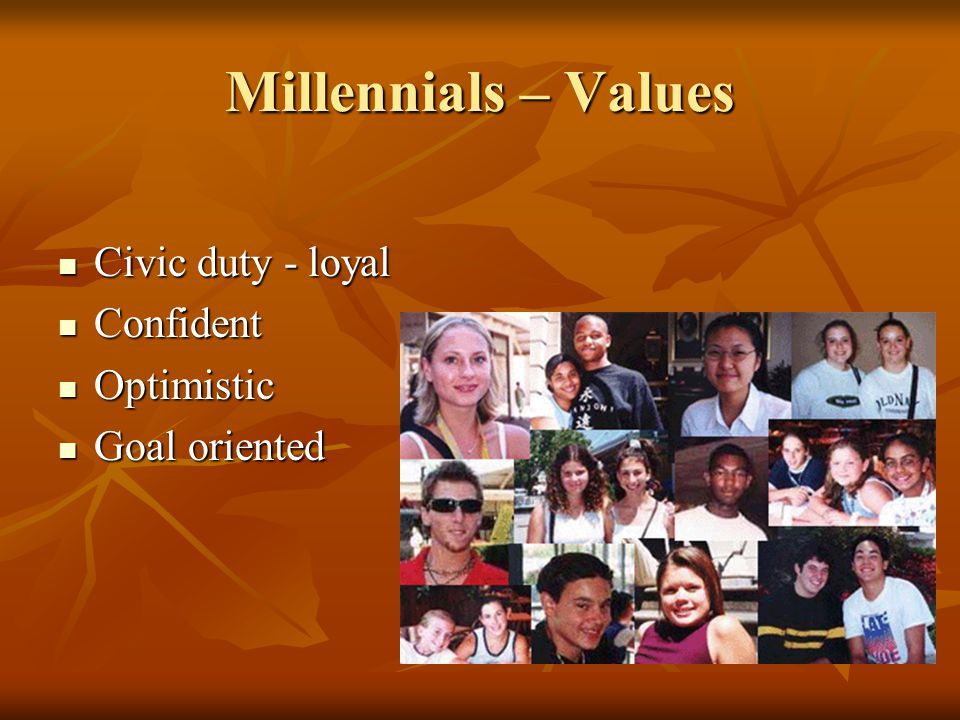 Millennials – Values Civic duty - loyal Civic duty - loyal Confident Confident Optimistic Optimistic Goal oriented Goal oriented