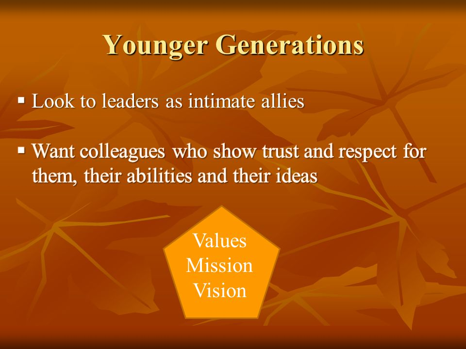 Younger Generations Values Mission Vision