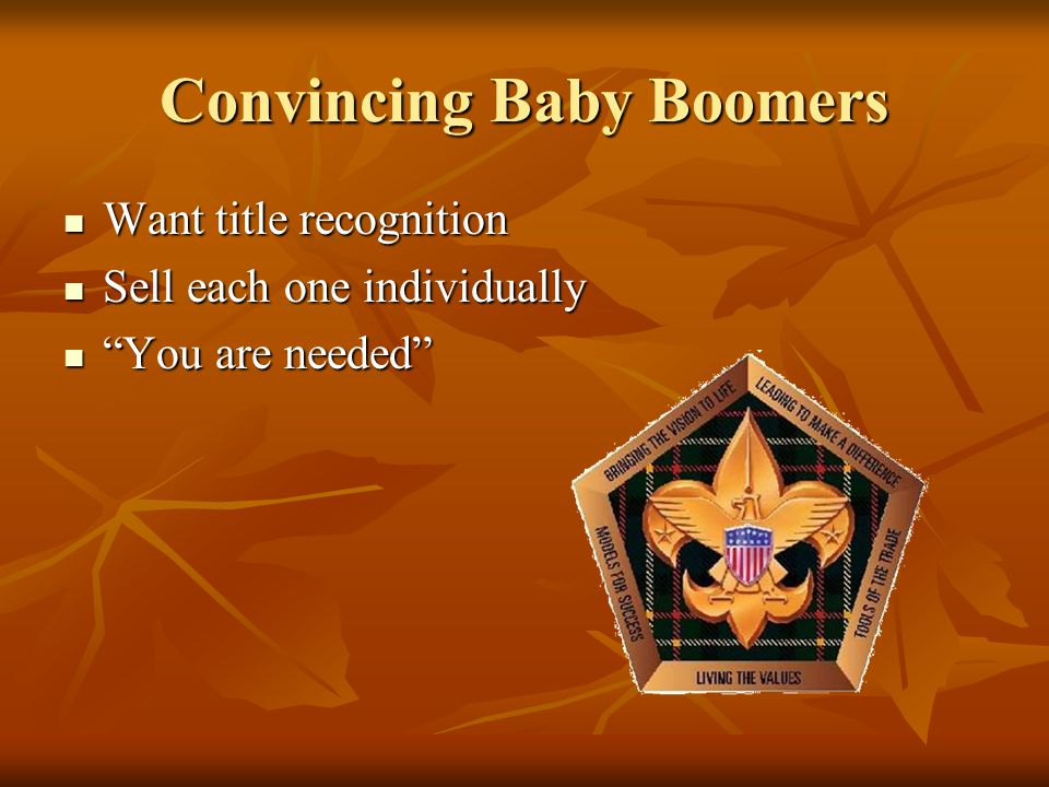 Convincing Baby Boomers Want title recognition Want title recognition Sell each one individually Sell each one individually You are needed You are needed