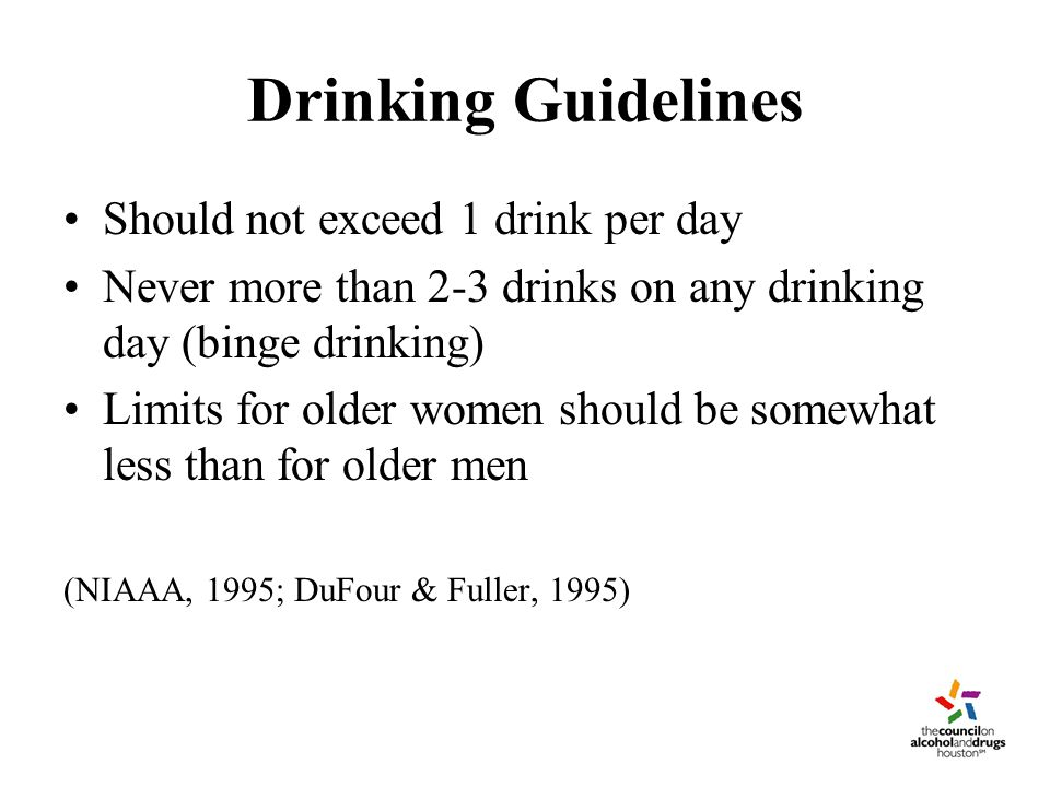 Drinking Guidelines (continued) Recommendations consistent with data on benefits/risks of drinking in this age group Lower limits for older adults because: -increased alcohol sensitivity with age -greater use of contraindicated medications -less efficient liver metabolism -less body mass/fat increases circulating levels
