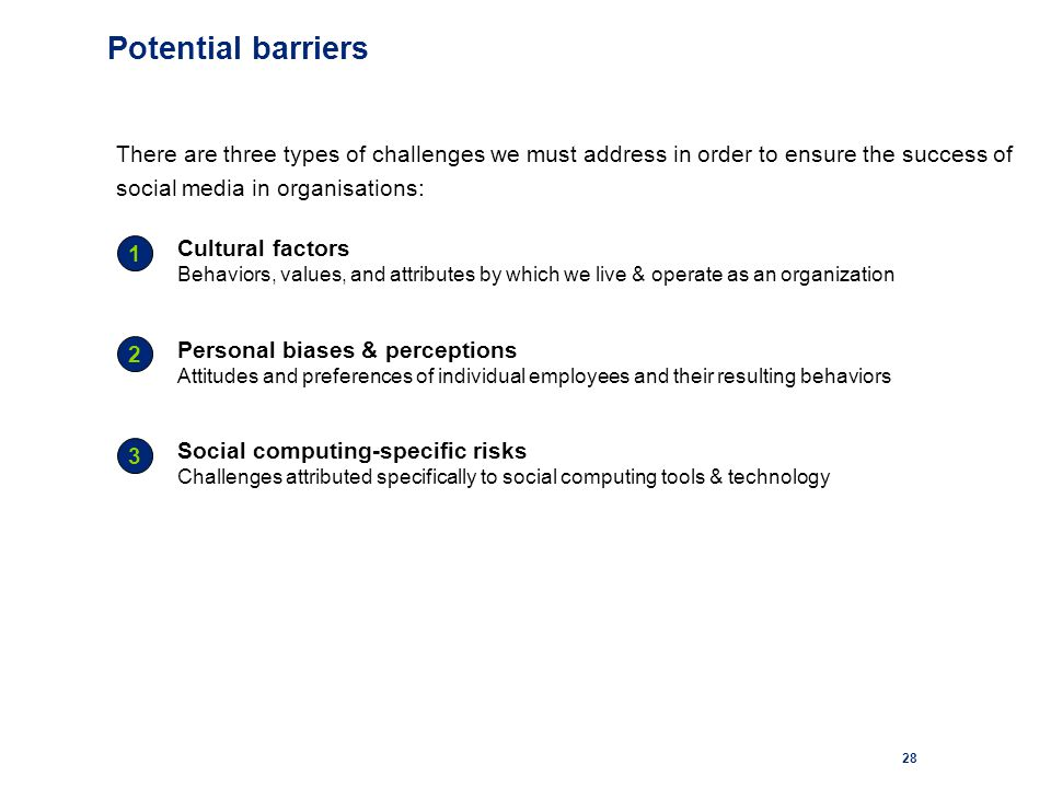 28 Potential barriers There are three types of challenges we must address in order to ensure the success of social media in organisations: Cultural factors Behaviors, values, and attributes by which we live & operate as an organization Personal biases & perceptions Attitudes and preferences of individual employees and their resulting behaviors Social computing-specific risks Challenges attributed specifically to social computing tools & technology 1 2 3
