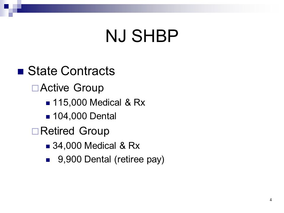 NJ SHBP Local Education & Local Government Contracts 934 Participating Employers  Active Group 127,000 Medical 34,900 Rx 1,100 Dental  Retired Group 88,000 Medical 28,000 Dental (retiree pay) 5