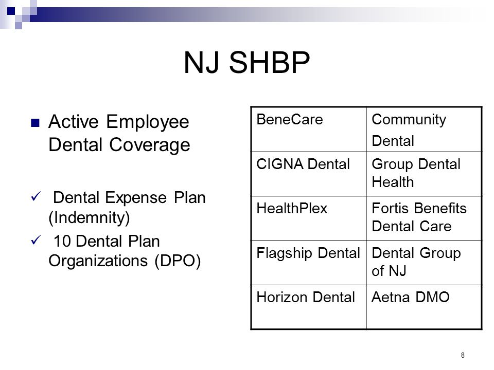 NJ SHBP Active Employee Dental Coverage Dental Expense Plan (Indemnity) 10 Dental Plan Organizations (DPO) BeneCareCommunity Dental CIGNA DentalGroup Dental Health HealthPlexFortis Benefits Dental Care Flagship DentalDental Group of NJ Horizon DentalAetna DMO 8