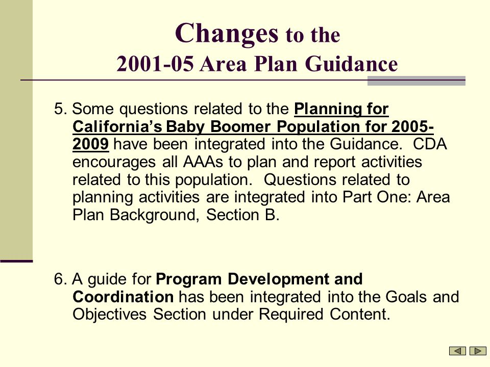 Changes to the 2001-05 Area Plan Guidance 5.