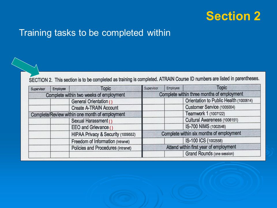 Section 2 Training tasks to be completed within