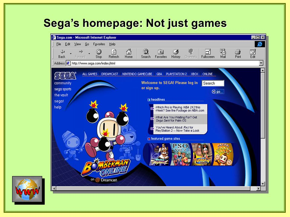 Sega's homepage: Not just games