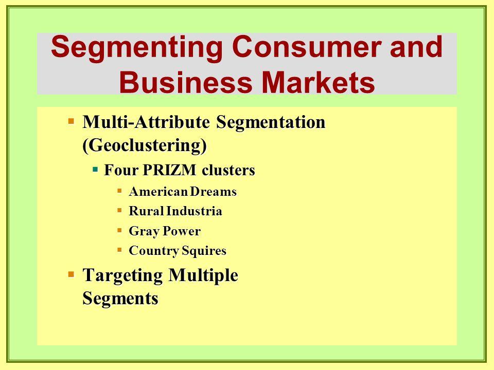 Segmenting Consumer and Business Markets  Multi-Attribute Segmentation (Geoclustering)  Four PRIZM clusters  American Dreams  Rural Industria  Gr