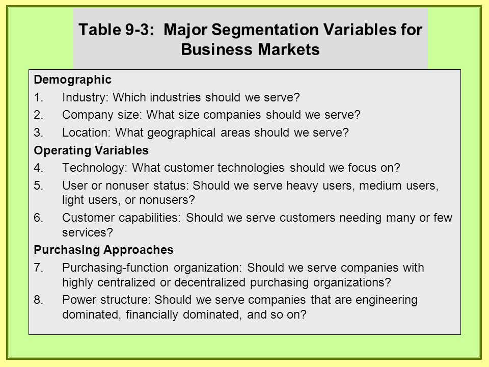 Table 9-3: Major Segmentation Variables for Business Markets Demographic 1. 1.Industry: Which industries should we serve? 2. 2.Company size: What size