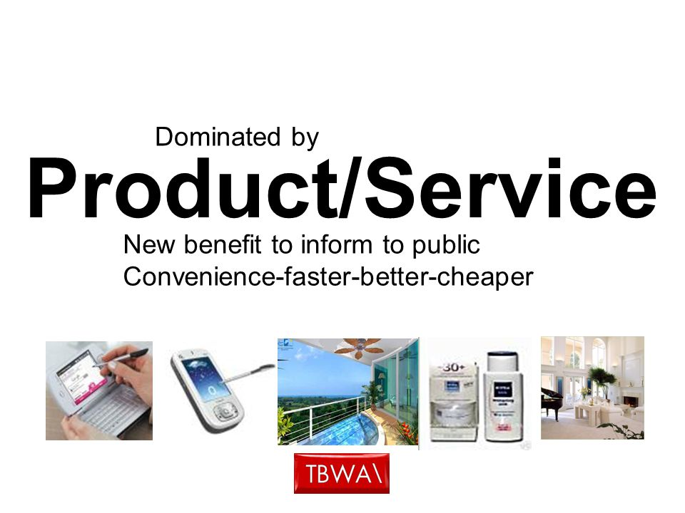Product/Service New benefit to inform to public Convenience-faster-better-cheaper Dominated by