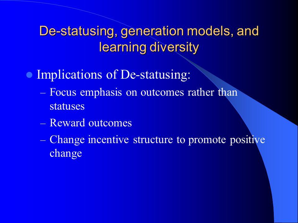 De-statusing, generation theory, learning diversity Generation Models: – The silent generation – The veteran generation – The baby boomer generation – The X'ers – Millennial kids