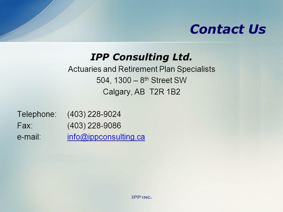 IPP inc. Contact Us IPP Consulting Ltd.